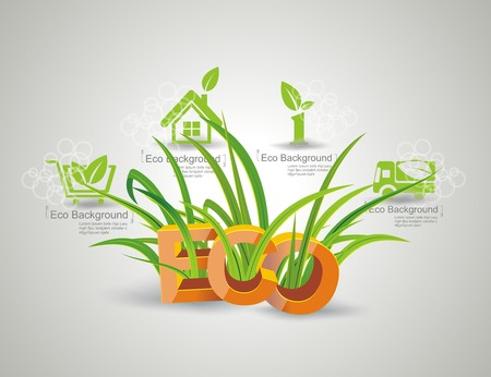 Ecology icon set  Letters ECO with green grass  Vector