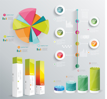 현대 인포 그래픽은 다이어그램 및 타임 라인 디자인 벡터를 설정합니다