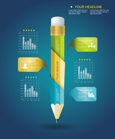 Business Design Template with Pencil ribbon banners  Can be used for step lines, number banners, timeline, diagram, web design  Vector