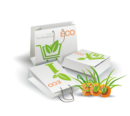 Vector paper bag, recycle concept  Eco Product  Eco packing   Vector