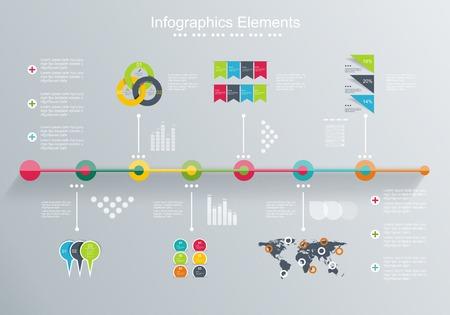 Time Line ontwerp sjabloon met papier tags idee om informatie, Stappen voor industriële fabriek, Ranking en statistieken weergeven Stock Illustratie