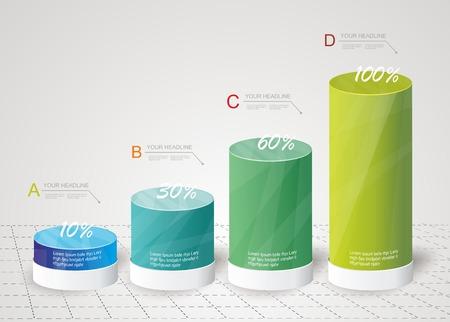 Moderne Design-Box Minimal Art Infografik-Vorlage Kann für Diagramm, nummeriert Banner, Prozent Spalten, Füllstandsanzeige auf weiß, Energie-Konzept verwendet werden Illustration