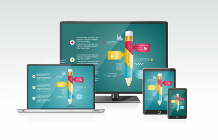 Computer monitor, laptop, tablet pc, and mobile smartphone with a blue background and colorful apps or infographics on a screen. Vector