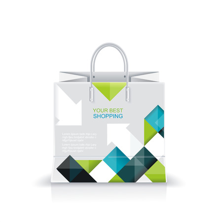 consumerism: Vector illustration of white shopping paper or plastic bag with modern abstract pattern print.