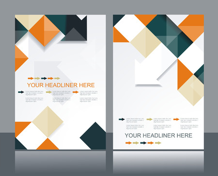 Vector brochure template design with orange & black cubes and arrows elements.  矢量图像