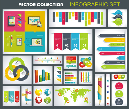 Collection of quality Infographics Design. Vector templates ready to display your data. Vector