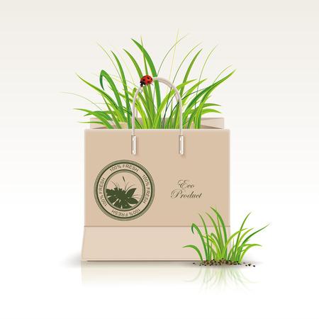 Illustration der Einkaufspapiertüte mit grünen Symbol. Umweltfreundliche Produkte und Grüntöne in einem Paket.