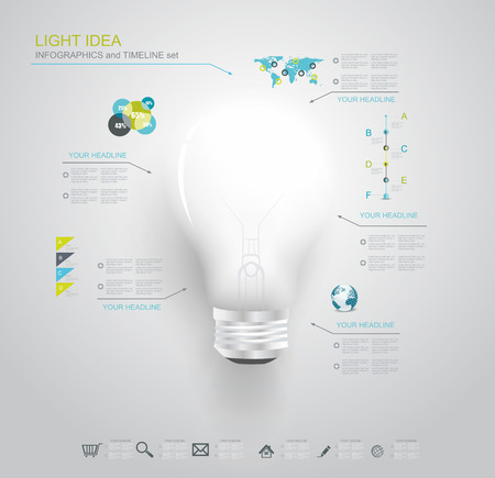 Creative light bulb with application icons. Modern infographic template. Business software. Social media concept.