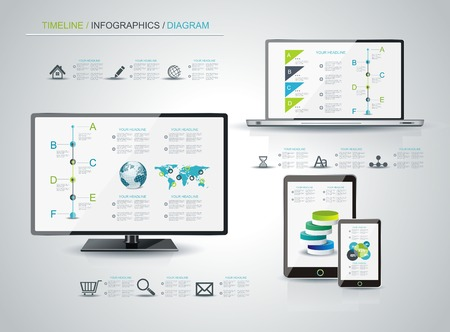 Modern infographic or webdesign concept, mobile shopping communication and delivery service.  Vector