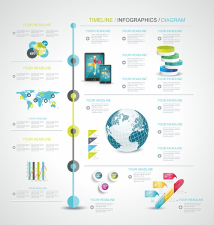 Tijdlijn ontwerp sjabloon met wereldkaart, knoppen voor het web en papier tags.