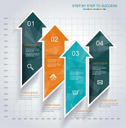 Modern Design template Infographic from Arrows. Can be used for workflow layout; diagram; number options; step up arrows; web design; banner template; infographic.  Vector