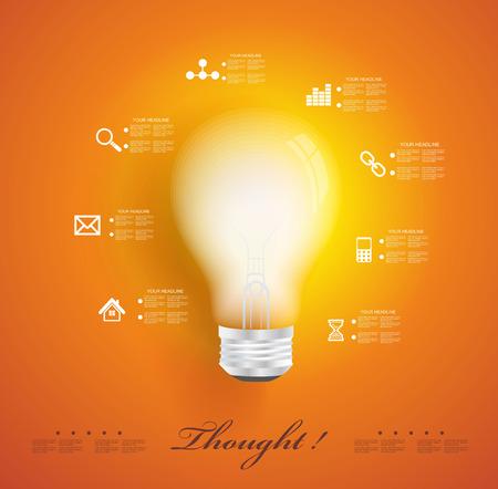 アプリケーションのアイコンとクリエイティブな電球。モダンなインフォ グラフィック テンプレート。ビジネス ソフトウェア。ソーシャル メディ