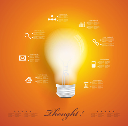 positive energy: Creative light bulb with application icons. Modern infographic template. Business software. Social media concept.