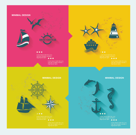 Set of sea labels, flat design Vector