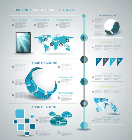 Timeline design template with world map, web buttons and paper tags. Vector