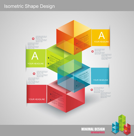 Modern Design template isometric style. Can be used for workflow layout; diagram; number options; step up options; web design; banner template; infographic. Vector
