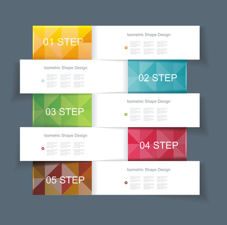 Business Design Template with color ribbon banners. Can be used for step lines, number banners, timeline, diagram, web design.  Vector