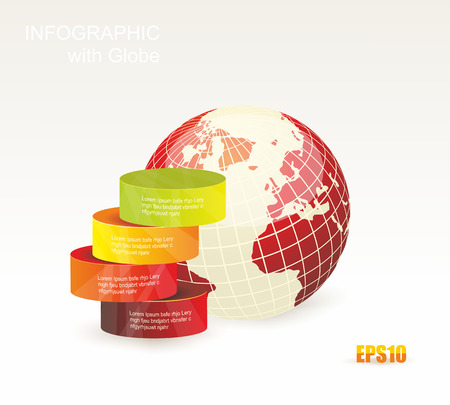 Modern box Design Minimal style infographic templatewith Globe. Can be used for diagram, numbered banners, percent columns. Vector