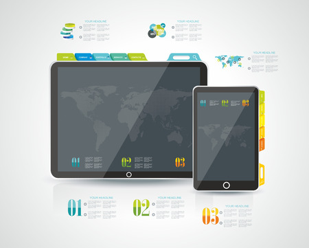 website design: Website design template elements: Tablet PC with Smart phone and icons set