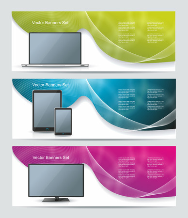 computer banner: Collection banner design with smart phone, tablet pc, laptop and computer, colorful sunlight background, vector illustration