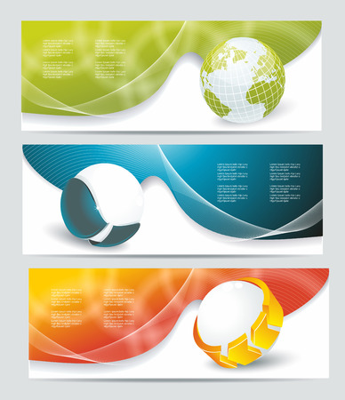 Collection banner design with glass balls and globe, colorful sunlight background, vector illustration  Vector