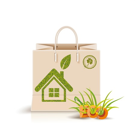 harmless: Vector illustration of  shopping paper bag with green symbol. Eco product, Eco packing.