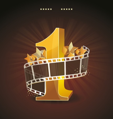 Gold number 1 with twisted filmstrip and glass stars against dark background