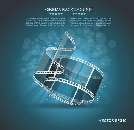 Old Cinema banner with stripe roll. Vector cinema background.