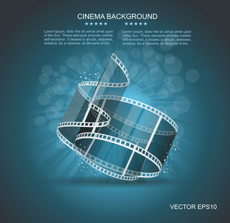 industry poster: Old Cinema banner with stripe roll. Vector cinema background.