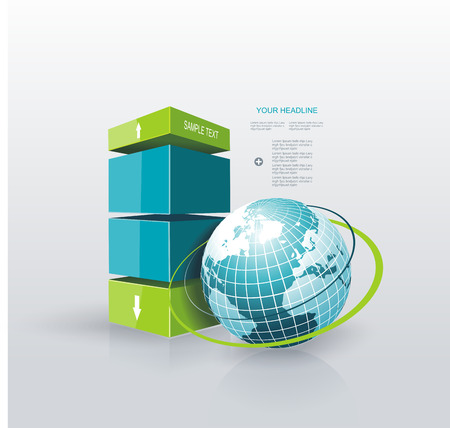 web design banner: Modern Design template Infographic with Blue Globe. Can be used for workflow layout; diagram; number options; step up options; web design; banner template; infographic, timeline.
