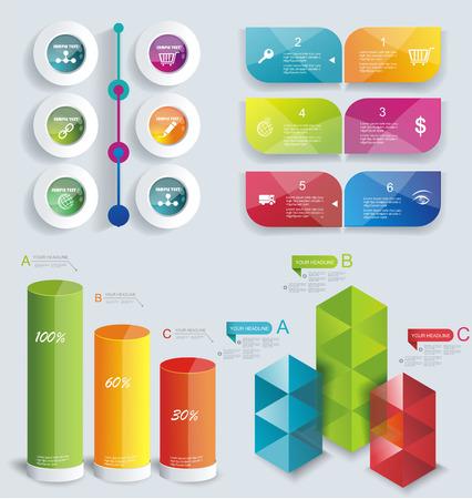 web design banner: Set Infographic Design. Can be used for workflow layout; diagram; number options; step up options; web design; banner template; infographic, timeline.
