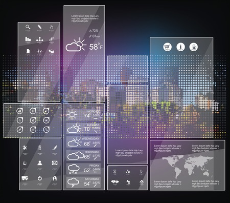 interface design: Modern Weather symbols and Interface design.