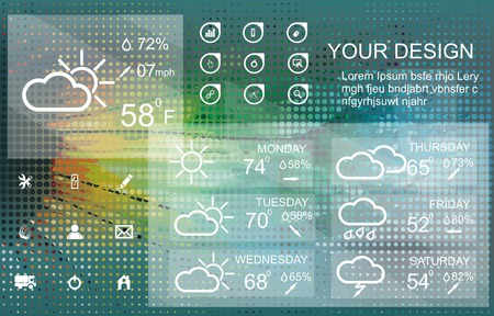 uv index: Weather widget and icons on floral background Illustration