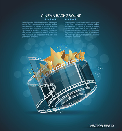 film roll: Film strip roll with gold star. Vector cinema background.