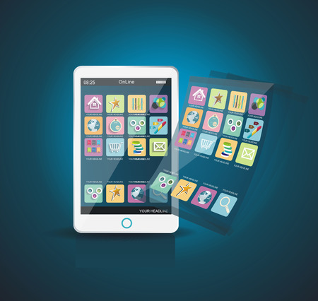 White Smartphone with Cloud of Application Icons Vector