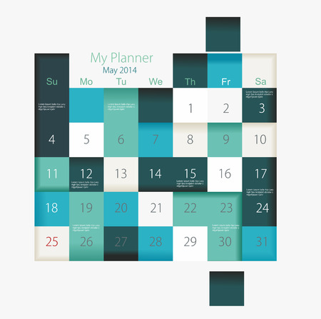weekly planner: Calendar to schedule monthly, convenient planner  Illustration