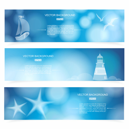 Travel and Nautical - blue awesome banners, hand drawn vector illustration. Vector