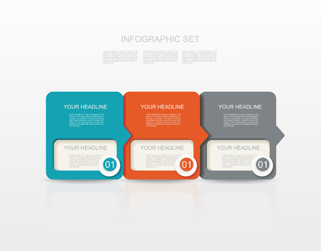 three layer: vector paper tags, labels, banners in the pockets, - one two three steps