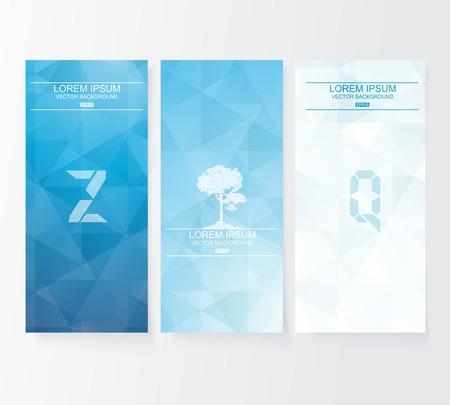 Abstracte deksel blauwe achtergrond, vector banners set.
