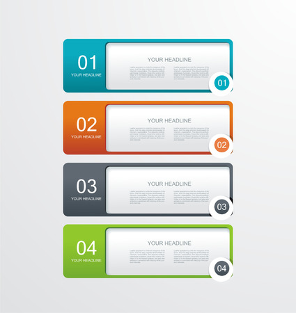 vector paper tags, labels, banners in the pockets, - one two three four steps  Vector