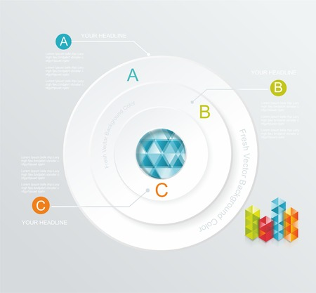 Business Infographics circle style. Can be used for diagram, number or step up options, web design.  Vector