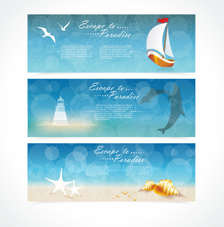 rudder: Travel and Nautical - blue awesome banners, hand drawn vector illustration.