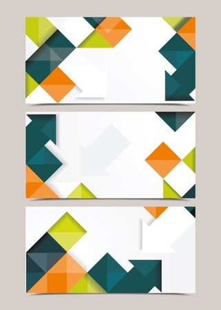 Vector template design with cubes and arrows elements. Brochure or banners or business card design. Vector