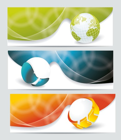realist: Collection banner design with glass balls and globe