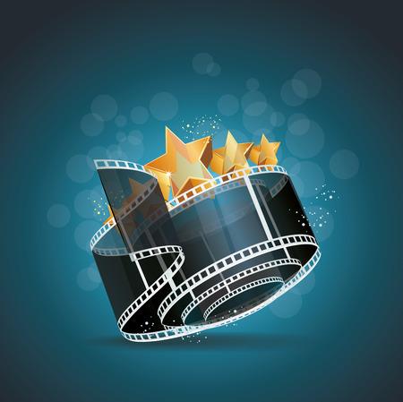 フィルム ストリップは、ゴールド スター映画の背景を持つロールします。  イラスト・ベクター素材