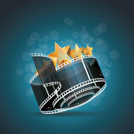 Film strip roll with gold star cinema background