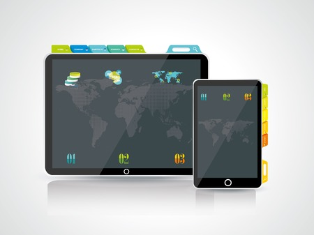 Website design template elements: Tablet PC with Smart phone and icons set Stock Vector - 28584341