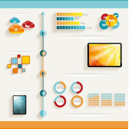 Infographic design template with web buttons and paper tags   Vector