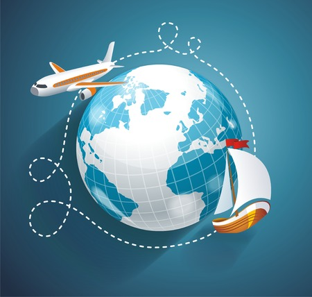 import trade: illustration of a world globe, an airplane and yacht. Cruise or logistic symbol