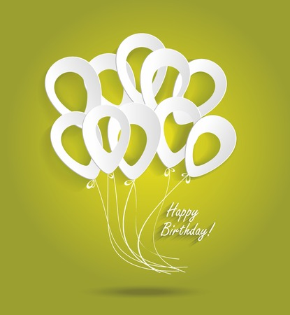 Birthday card with paper ballons  Illustration